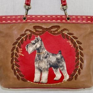 Isabella Fiore Airedale Terrier Dog Tote handbag